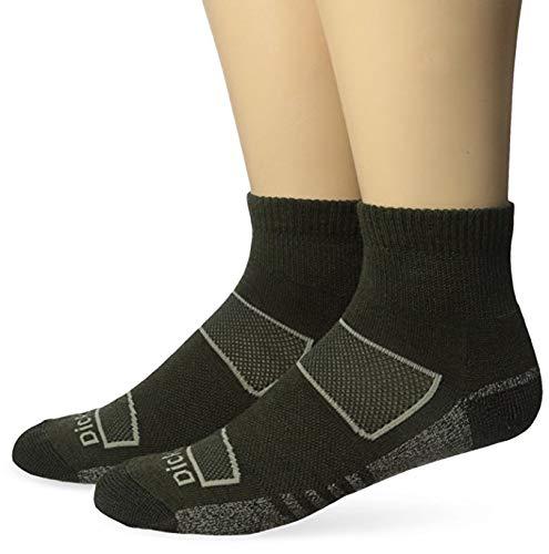 (Dickies Men's 2 Pack All Season Merino Wool Light Cushion Quarter Socks, Moss, Sock Size:10-13/Shoe Size:)