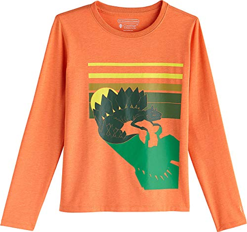 Coolibar UPF 50+ Kids' Long Sleeve Everyday Graphic T-Shirt - Sun Protective (Large- Orange Dinosaur)