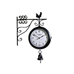 Fengfeng Double Sided Clocks, American Retro Iron Art Wall Bell European Antique European Restaurant Living Room Clocks Two-Sided Silent Craft Wall Clock