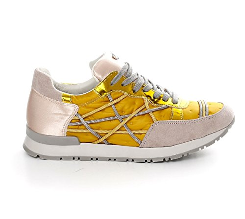 Shoes Sneakers L4K3 LAKE Woman Mr BIG Ecosuede Duvet Satin Yellow