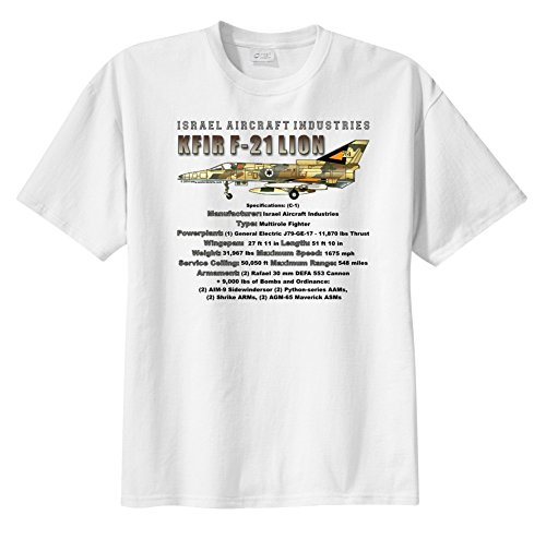WarbirdShirts Men's Israel Aircraft Industries Kfir F-21 Lion Short Sleeve T-Shirt Adult 4XL