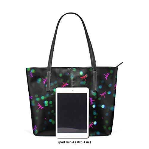 COOSUN Libelle Bokeh Pattern PU Leder Schultertasche Handtasche und Handtaschen Tasche für Frauen