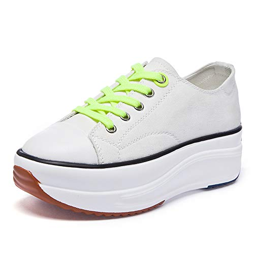 Soklay Women's Canvas Low Top Sneaker Lace-up Casual Walking Shoes Platform Pump Fashion Comfortable Tennis Sneakers (8 B(M) US, White)