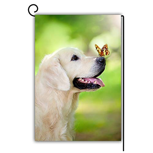 Artsbaba Golden Retriever Dog with Butterfly Garden Flag Decorative House Yard Flag Double Sided Flags Outdoors Lawn Weatherproof Polyester Fabric 12 inch x 18 inch (Pole Not Included)