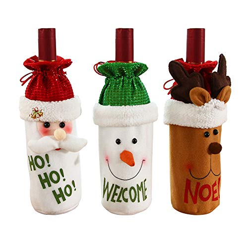 Rongyuxuan Christmas Wine Bottle Cover, 3 Pack Santa Reindeer Snowman Wine Bottle Covers for Dress up Wine Bottle, Party Decorations with a Merry Christmas Gift Bags, Xmas Ornaments