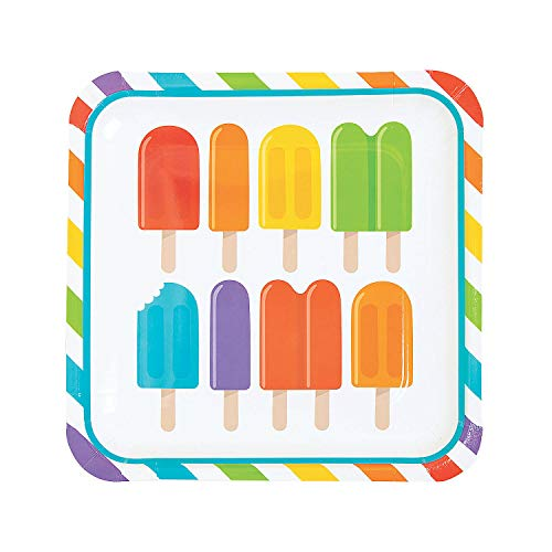 (Fun Express - Popsicle Party Dinner Plate for Birthday - Party Supplies - Print Tableware - Print Plates & Bowls - Birthday - 8 Pieces)
