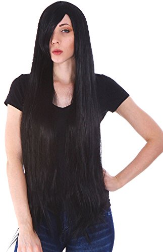 Women Girl Daily Wear Party Hair Wigs with Free Wig Cap, Long Straight-Balck10 (Sexy Pokemon Costumes)