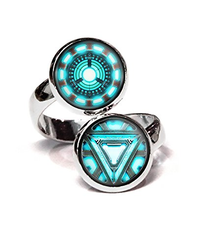 Arc Reactor Ring, Iron Man Ironman Jewelry, The Avengers Jewelry, Shield Pendant, Captain America Superhero Earrings, Justice League Gifts, Birthday Gift, Geek Geeky Present Presents]()