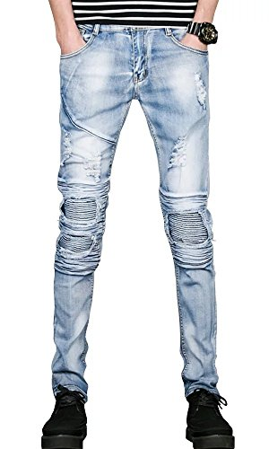 Men's Hipster Slim Skinny Wrinkle Destroyed Ripped Denim Jeans Pants Light Blue