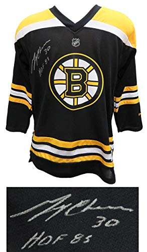 Gerry Cheevers Autographed Jersey - Reebok Black Youth Replica w HOF 85 - Autographed NHL -