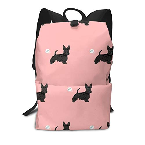 Backpack scottie funny dog fart pets pure breed dogs pink Laptop Backpack Student School Bookbag Casual Durable Rucksack Travel - Backpack Scotty