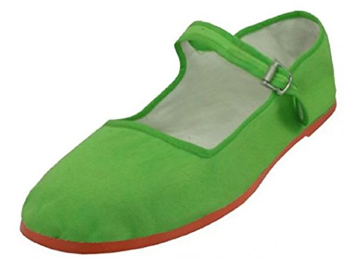 Shoes8teen Shoes 18 Womens Cotton China Doll Mary Jane Shoes Ballerina Ballerine Shoes 114 Verde
