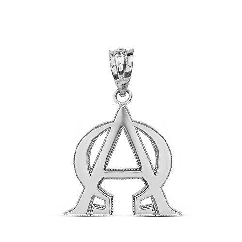 Fine 925 Sterling Silver Alpha and Omega Christian Symbols Charm Pendant