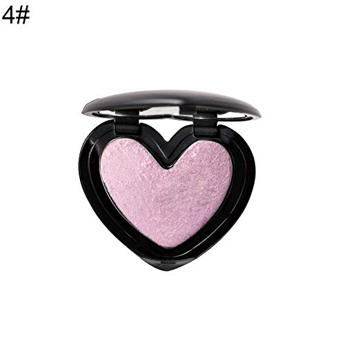 wewa98698 Heart Love Shape Highlighter Palette Face Contour Illuminator Powder Shimmer Bronzer - 4# ()
