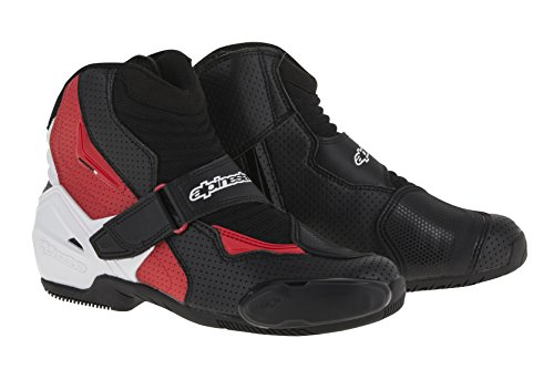 Vented Racing Boots - Alpinestars SMX-1 R Vented Boots (42) (BLACK/WHITE/RED)