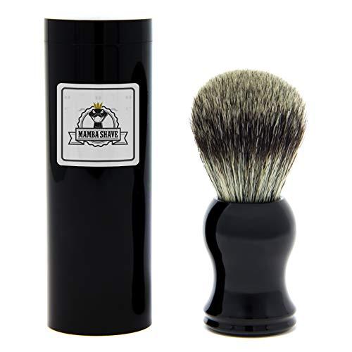 Brocha para Espuma de Afeitar Mamba Shave. Color Negro. Incluye su Estuche de Regalo. Premium Shaving Brush.