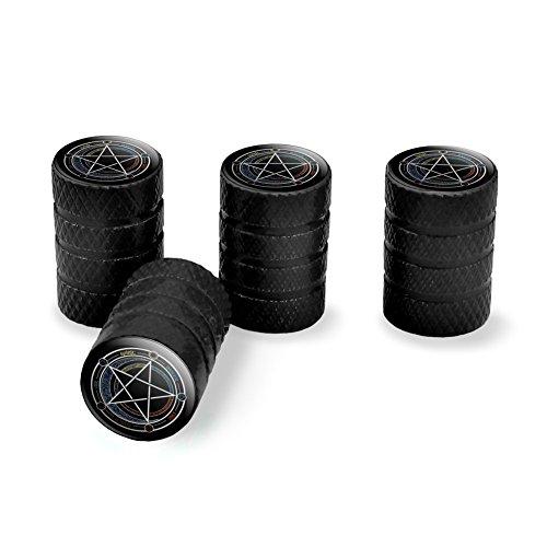Pentagram Pentacle Star Wiccan Witch Tire Rim Wheel Aluminum Valve Stem Caps - (Aluminum Star Rim)