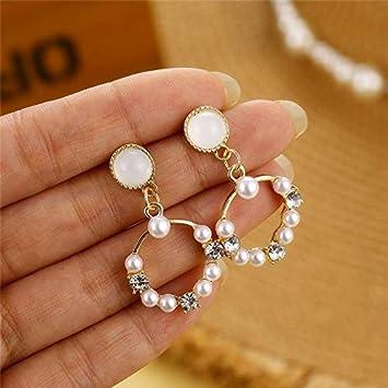 Gaoxingbianlidian001 Pendientes de la perla joyería de la boda elegante for los pendientes de las mujeres grandes de la manera geométrica redonda Estrella cuelgan los pendientes de 2020 Declaración de