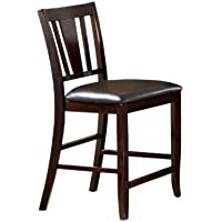 Furniture of America Anlow Padded Leatherette Counter Height Chair, Espresso Finish, Set of 2