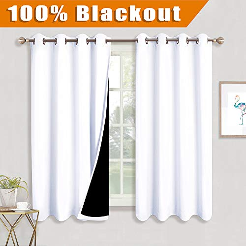RYB HOME Full Blackout Curtains with Black Liner Heavy Drape