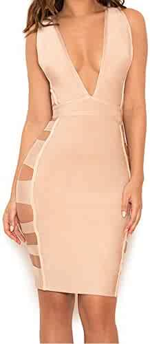 UONBOX Women s Deep V Neck Sexy Cut Out Bodycon Club Party Bandage Dress 8d0deab21