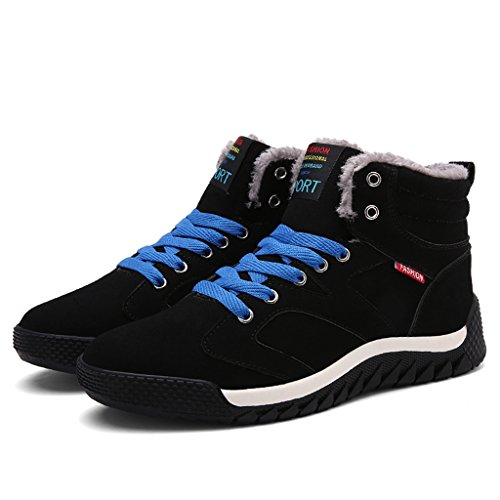 JACKSHIBO Men Fur Lined Winter Snow Boots High Top Warm Sneakers Black a nb6INiI