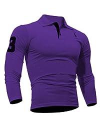 OTW Mens Lapel Deer Embroidery Long Sleeve Slim Fit Polo Shirt Top Blouse