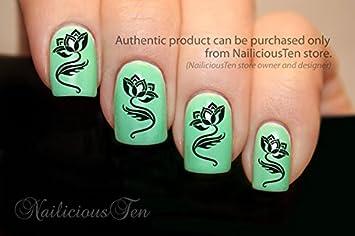 Amazon nailicious ten tattoo style lotus flower nail wrap art nailicious ten tattoo style lotus flower nail wrap art water transfer decals 21pcs by nailiciousten prinsesfo Choice Image