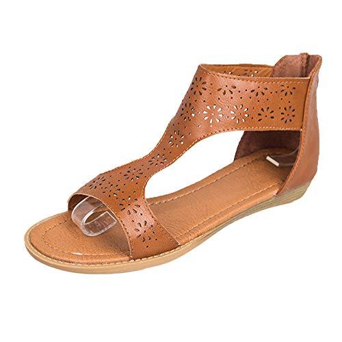 Nevera Women's Summer Solid Open Toe Zipper Flat Cut Out Gladiator Sandals Brown]()