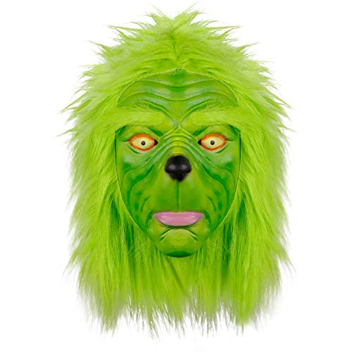 Waylike Funny Novelty Christmas Grinch Mask Deluxe Latex Green Full Head Costume Collectible Prop Scary Mask Toy