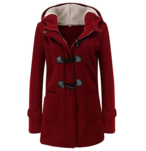 AvaCostume Womens Classics Long Sleeve Fleece Toggle Coat, WineRed 4 Womens Toggle Coat