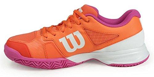 Wilson Rush Pro JR 2.5 Tennis Shoe - Orange/Rose/White (Size 5 Big Kid) (Wilson Womens Tennis Apparel)