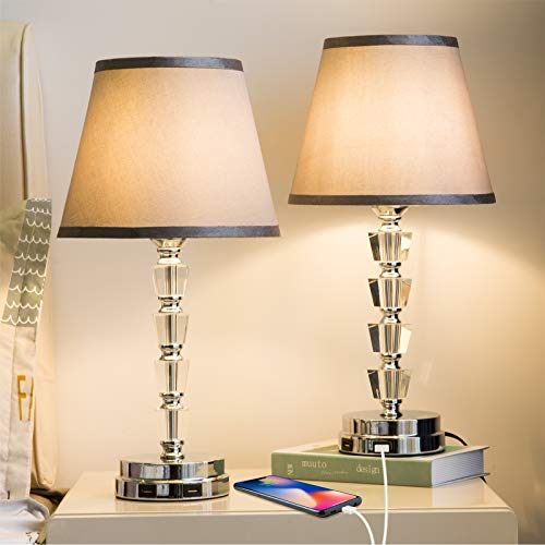 Lifeholder Bedside Lamp, Exquisite Crystal Lamp with Dual USB Ports, Dimmable Touch Lamp Include 2 Edison Bulbs, Gray…