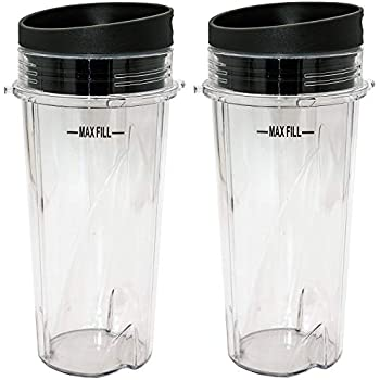 Blendin Replacement 16oz Single Serve Cup with To Go Lid, Compatible with Ninja Blenders with 4 Tabs and 3