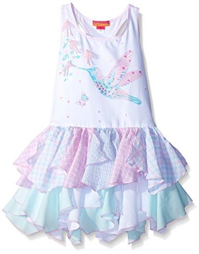 Kate Mack Girls' Little Flitter Flutter Drop Waist Dress, Multi, 6X