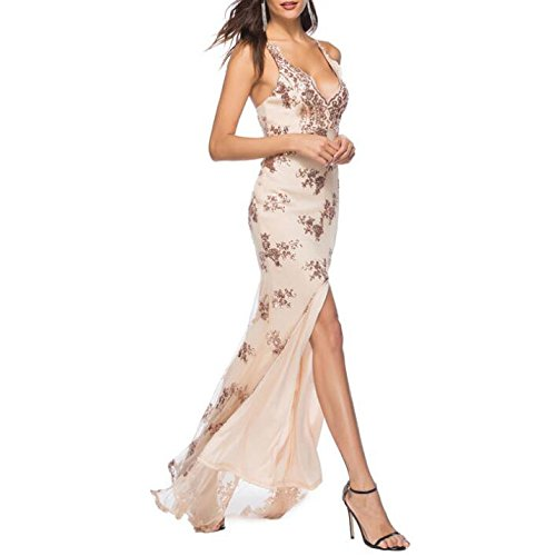QSCG Sexy Abito Da Vestito Sera Gold Lungo Vestito Donna Fessura A Da Spalline Senza q44tr