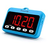 DreamSky Digital Kitchen Timer with Large Red Digit Display, Loud Alarms with Volume Adjustable (High/Low), Count Up & Down, Magnetic Back Stand, Battery Operated, Easy Operation, Blue Color.