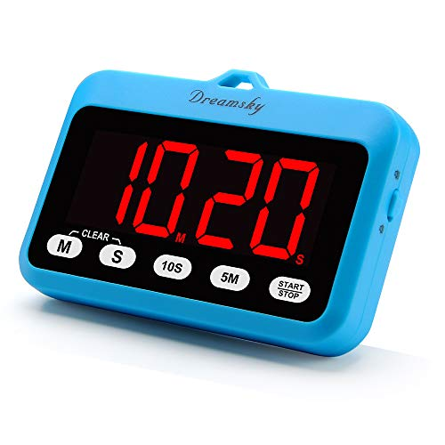 DreamSky Digital Kitchen Timer with Large Red Digit Display, Loud Alarms with Volume Adjustable (High/Low), Count Up & Down, Magnetic Back Stand, Battery Operated, Easy Operation, Blue Color. by DreamSky