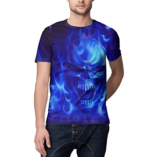 SLHOIUEWCV Mens Blue Flames Skull Wallpaper T Shirts Summer T-Shirts