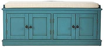 Laughlin Storage Bench, 20 Hx47 Wx18 D, ANTIQUE BLUE