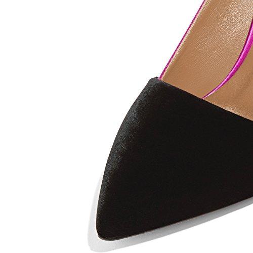 Fsj Élégant Satin Talons Hauts Pompes Pointu Orteils Stilettos Formelle Confortable Bureau Chaussures Taille 4-15 Nous Fuchsia