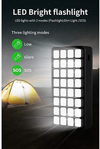 JINGQI 30000mAh IPX6 Grande capacità Impermeabile con 32 LED Lampade Campeggio 4USB 2.1A Uscita di Ricarica Rapida Display Indicatore Portatile Alimentatore Universale,Nero