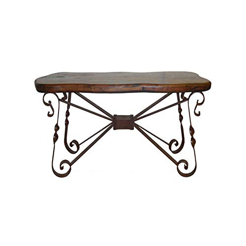 Rustic Elegant Console Made of Wrought Iron and a Free Form Mesquite Wood Top ()