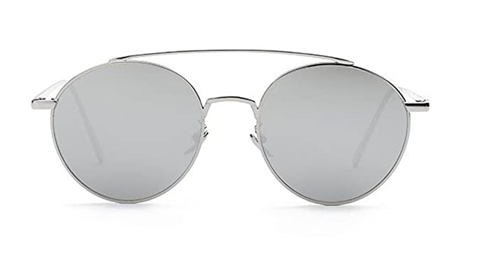 7d9692cebde GAMT Comfortable Fashion Round Sunglasses for Men and Women Metal Frame PC  Lens Clear Film Sun Glasses Silver  Amazon.co.uk  Clothing