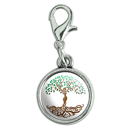 Nature Antiqued Bracelet Pendant Zipper Pull Charm with Lobster Clasp ()
