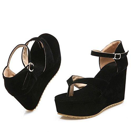 Clasico Negro Flop Cuna Mujer COOLCEPT Flip Sandalias Plataforma de Tacon 5wvBxzPq8