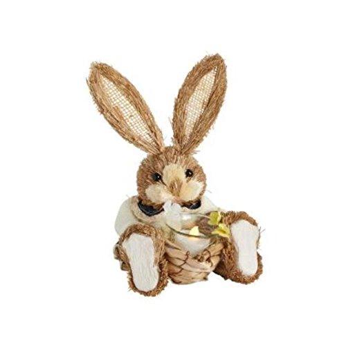 Nantucket H Girl Bunny Rabbit Holding a Basket with a Flameless Tealight 10