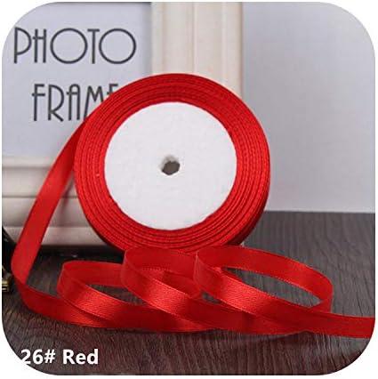 kawayi-桃 25ヤード/ロールグログランサテンリボン結婚式のクリスマスパーティーの装飾6mm-40mm DIY弓クラフトリボンカードギフト-Red-6mm