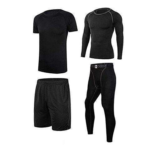 Men's Tracksuit, Vogvigo 4 Pack Dry Fit Compression Athletic Tight Short / Long Sleeve T Shirt Shorts Pants Training Sportswear Shirts and Pants Workout Fitness Sports (Ho Outfits)
