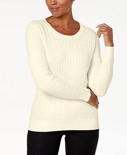 (Karen Scott Women's Crew-Neck Cotton Cable-Knit Sweater (Buttercreme, X-Large))